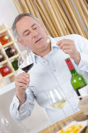 oenophile testing the wine with cheese