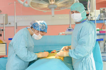 during the operation Stock Photo