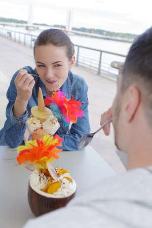 romantic couple with ice cream Stock Photo