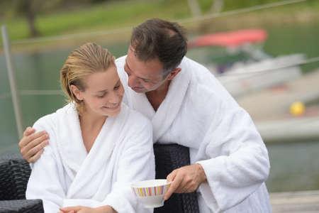 couple on the lake shore