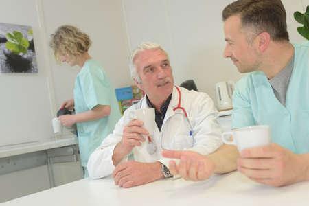 medical doctor team taking coffee break