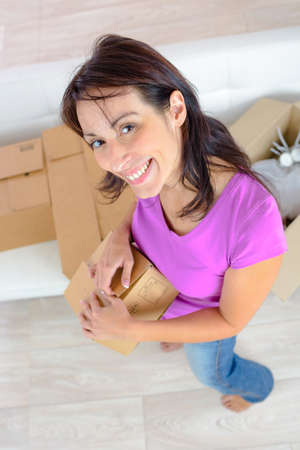 young holding a box Stock Photo