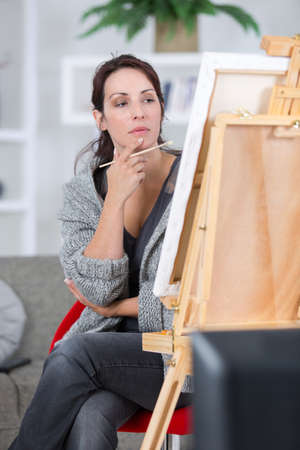 high angle view of painting woman