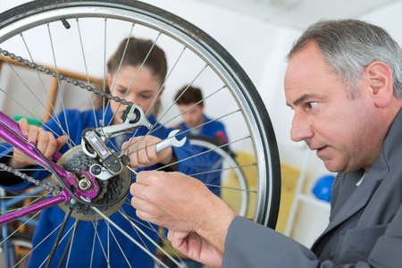 repair technician bicycles was repaired gear bike shop