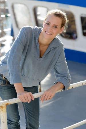 female fisherman posing