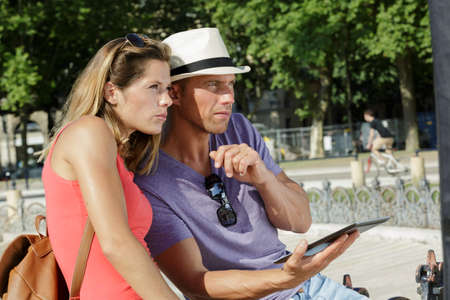 couple using tablet Stock Photo