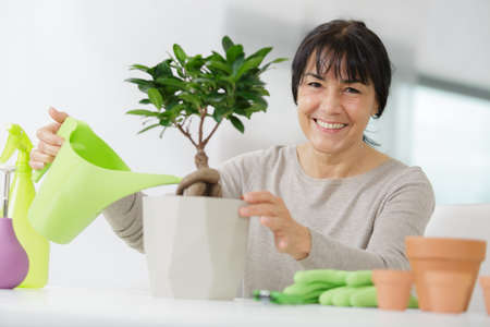 mature woman watering flowers 写真素材