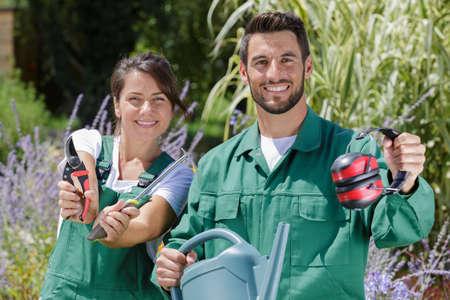 two happy gardeners at work Stock Photo