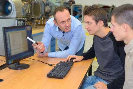 a couple of students of factory tour