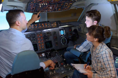the students in the cockpit