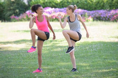 women doing outdoor aerobics Stockfoto