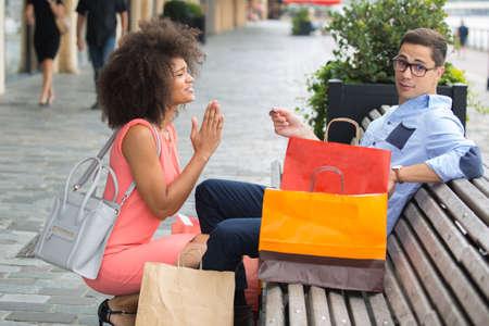 wife praying husband to keep shopping