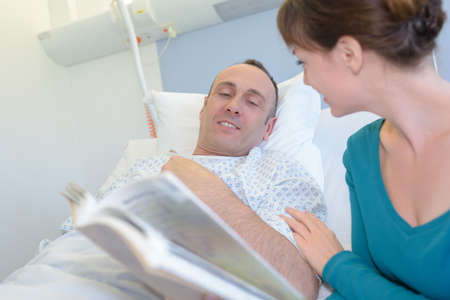 wife visiting husband in hospital