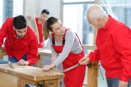 portrait of senior worker with apprentices Stock Photo