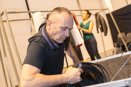 portrait of a man wiring Stockfoto