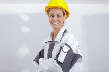 woman builder looking at camera