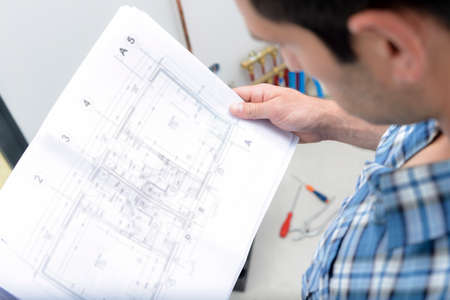 male worker during study the plan