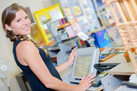 Porträt der Verkäuferin bei till Standard-Bild