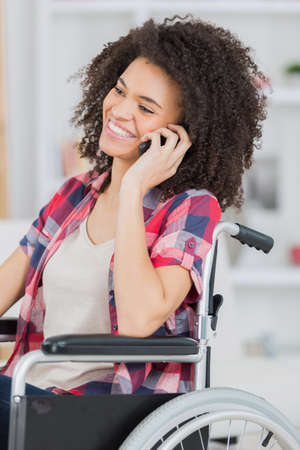 disabled lady using telephone