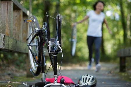 broken bicycle outdoors