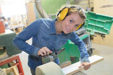 portrait of female in workshop