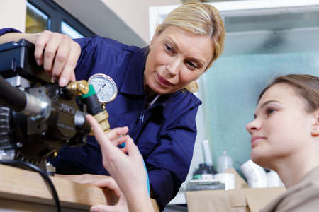 portrait of a female apprentice during training