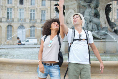 young tourist travelers in the city