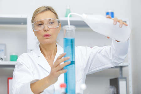 close up of a mature woman in lab Фото со стока