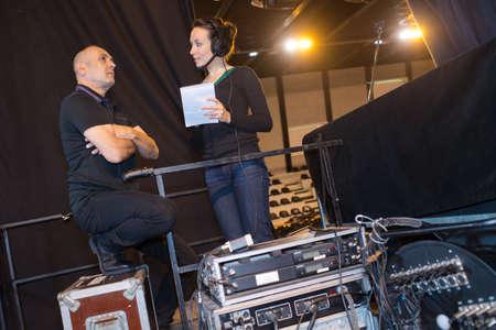 stage crew by sound equipment 版權商用圖片
