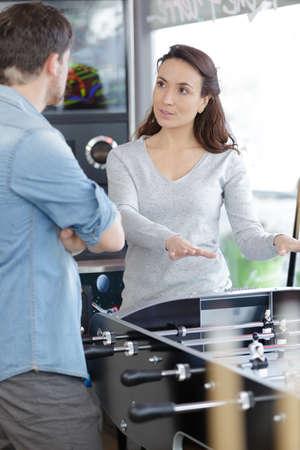 Selling customers table football concept Zdjęcie Seryjne