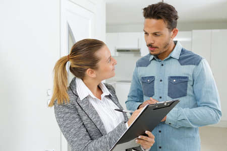 Real estate mortgage agent with client choosing the options