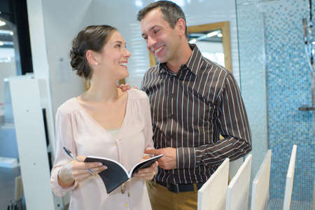 woman and man shopping in home decoration store