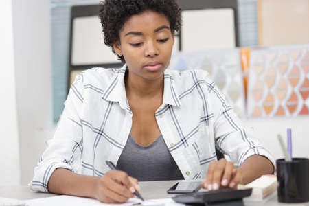 a woman working on finances
