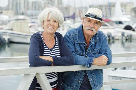 happy senior couple in the port Reklamní fotografie
