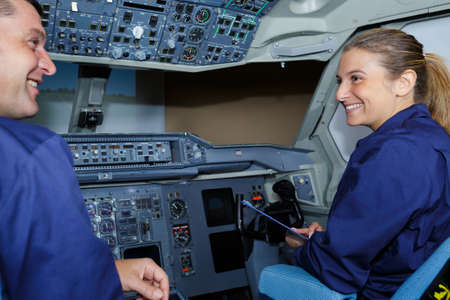 couple of engineers in aircraft