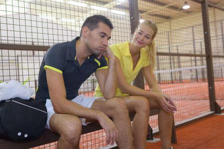 a tennis couple after match