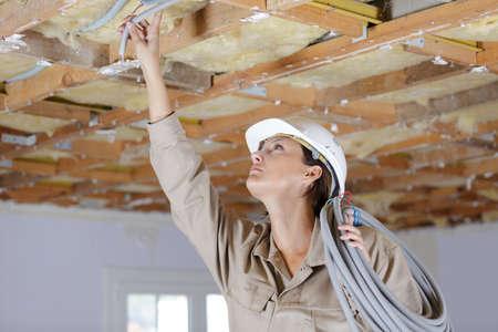 a female builder inside construction