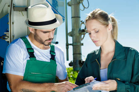 the two workers in vineyards Stock Photo