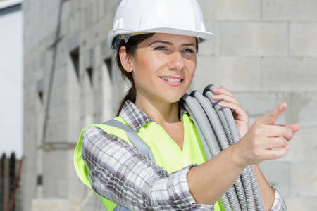 a woman with the cables Standard-Bild