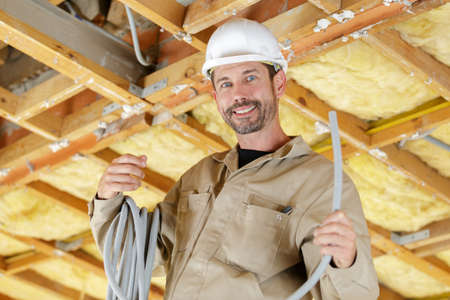 portrait of a network technician during installation
