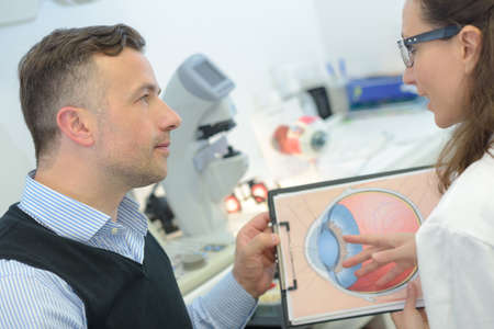 doctor showing eye models to patient