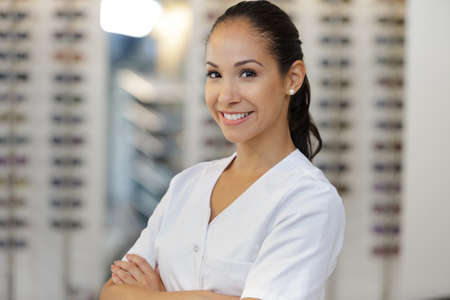 a female ophthalmologist in clinic