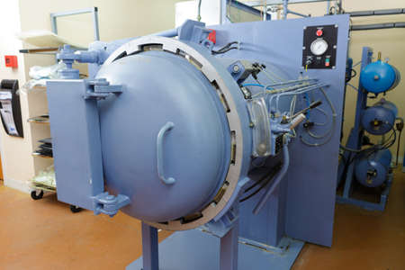 close up of pressurised industrial cylindrical turbine Banque d'images