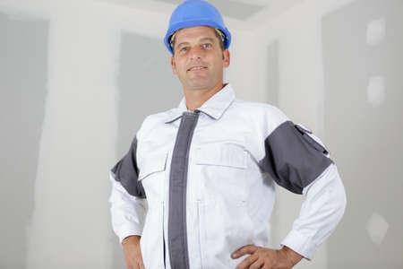 half length portrait of mature tradesman 免版税图像
