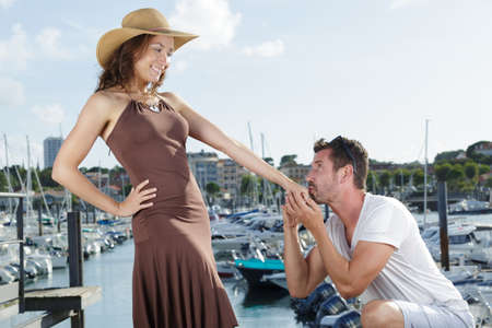Man proposing to his girlfriend Stock Photo