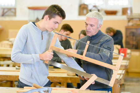 the students in woodwork class