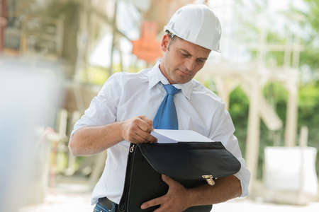 engineer working at building sites Stockfoto