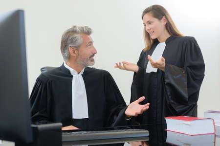 portrait of lawyers having arguments