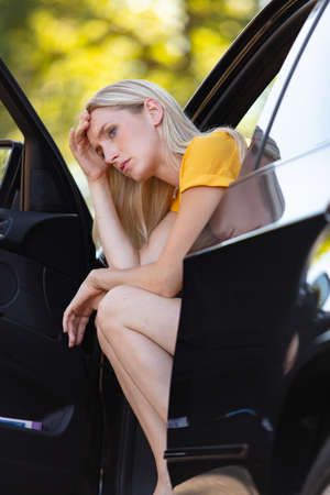 side view window portrait displeased young stressed driver