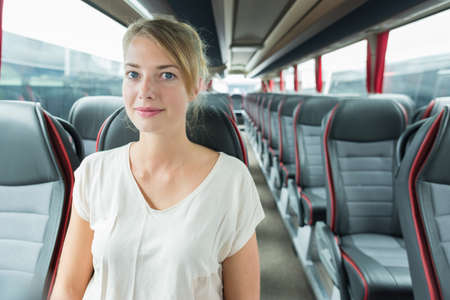 picture of woman inside a bus